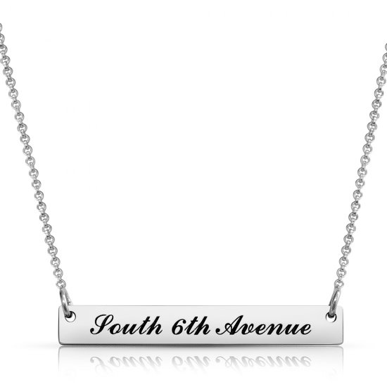 engraved bar necklace - 925 sterling silver