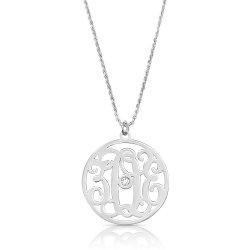 impressive monogram necklace with swarovski birthstone in sterling silver