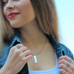 vertical bar necklace with name engraved in sterling silver and swarovski birthstone