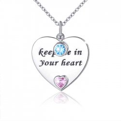 keep me in your heart - engraved heart pendant