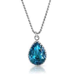 crystal from swarovski necklace - pear fancy emerald stone