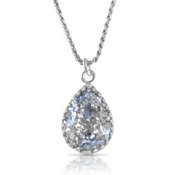 crystal from swarovski necklace - pear fancy crystal silver patina stone