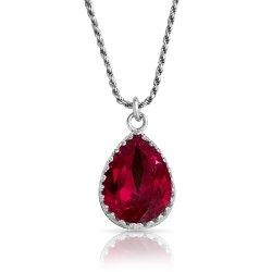 Crystal From Swarovski Necklace - pear fancy stone - siam