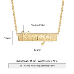 Bar name necklace - 18k gold plated