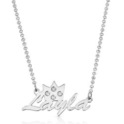 crown name necklace in sterling silver