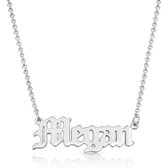 Old English name necklace in sterling silver