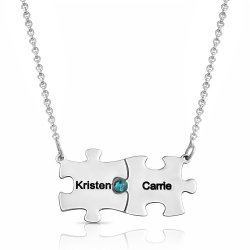 Silver Family Puzzle Necklace With Swarovski Birthstone