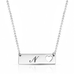Personalized Heart Bar Necklace in sterling silver