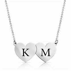 Two Hearts Initial letter Necklace In Sterling Silver