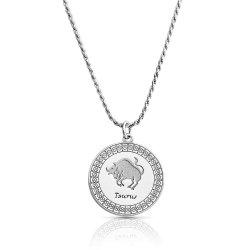 sterling silver zodiac pendant : taurus