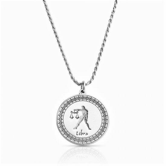sterling silver zodiac pendant : libra
