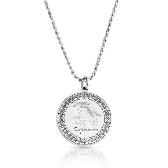 sterling silver zodiac pendant : capricorn
