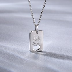 Cupid heart necklace in sterling silver