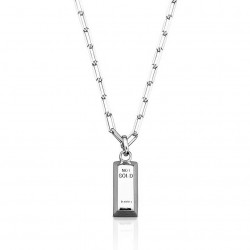 link chain necklace with square pendant in sterling silver