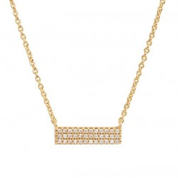 Gold bar necklace with pave cubic zirconia