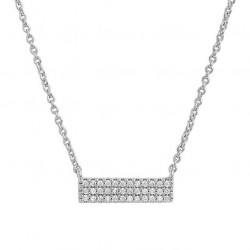 Sterling silver bar necklace with pave cubic zirconia