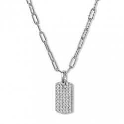 Sterling silver dog tag pendant with sparkling cubic zirconia
