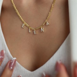 Custom Name necklace with pave letters