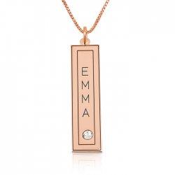 vertical bar necklace with name engraved in a frame & swarovski ,  in rose gold plating