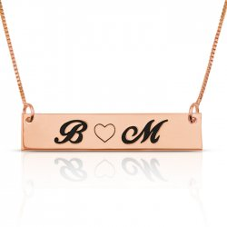 Love bar necklace with two letters & heart - in rose gold plating