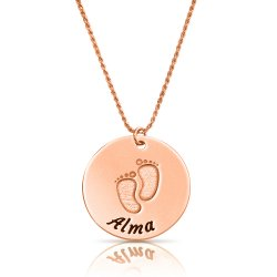 baby feet disc necklace in rose gold plating