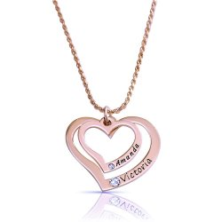 Two Hearts Necklace Engraved With two Names and Swarovski Birthstones in rose gold plating