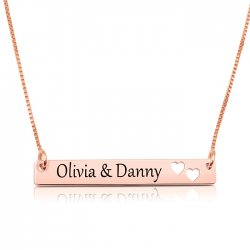 rose gold plated  bar necklace with two names & hearts