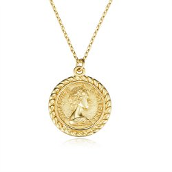 Gold plated antique coin necklace