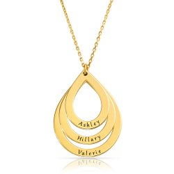 drop shaped engraved family necklace