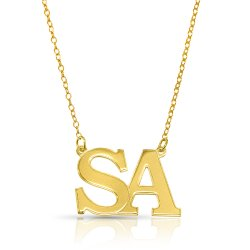 initial letters necklace - 18k gold plated