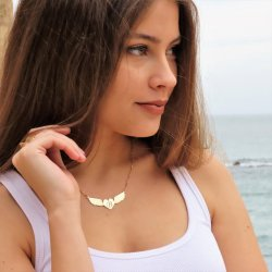 Engraved heart necklace and angel wings -  18k gold plated