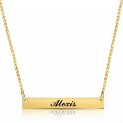 gold plated personalized bar necklace