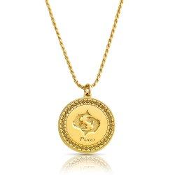 gold plated zodiac pendant : pisces