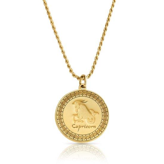Gold Plated Zodiac Pendant : Capricorn