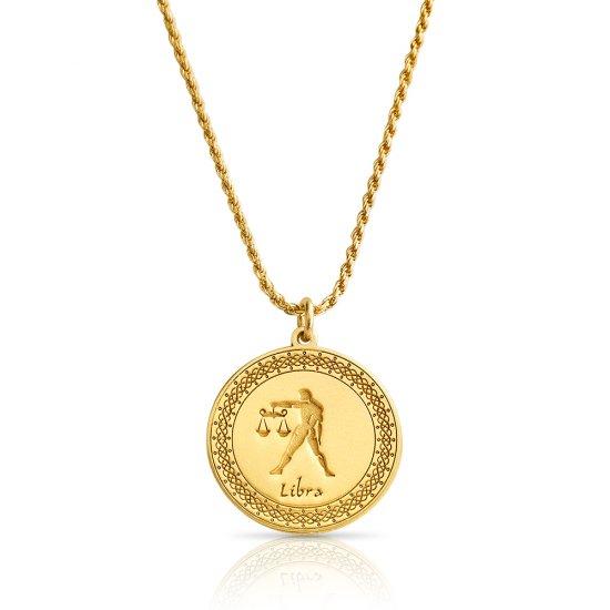 Gold Plated Zodiac Pendant : libra