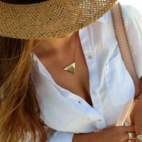 18K Gold Plated Engraved Triangle Necklace