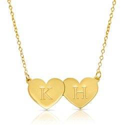 two hearts initial necklace in 18k gold plated silver