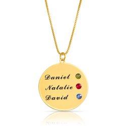 Engraved disc necklace with swarovski birthstones