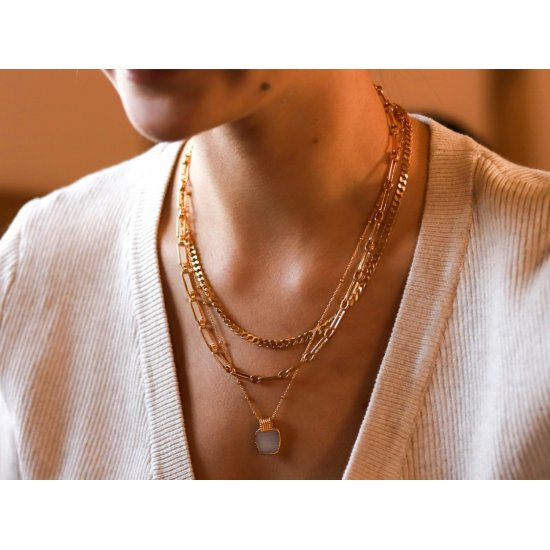 gold plated paperclip chain necklace