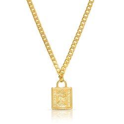 Queen Elizabeth Square Pendant Necklace - Gold Plated