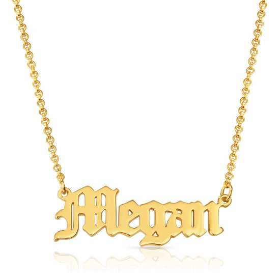 Old English name necklace -18k gold plated silver