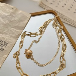 gold plated Layered chain link necklace