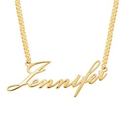 Block Letter Name Necklace 18k gold plated silver