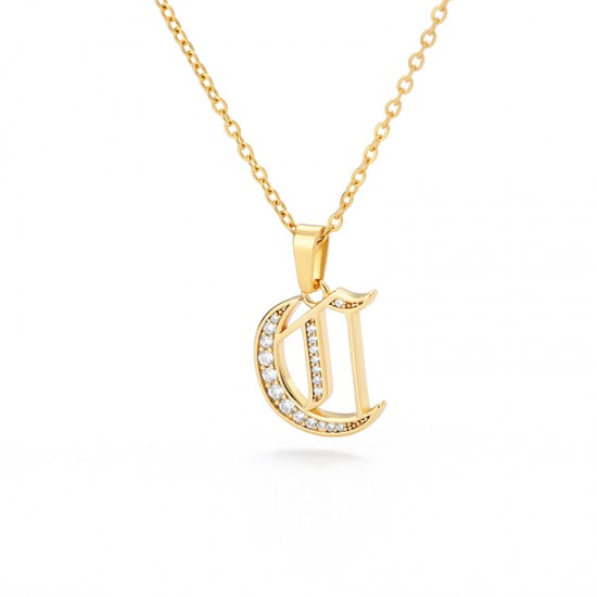 old english Initial Necklace with cz Crystals