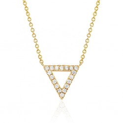 Triangle Necklace Gold plated with Pave Cubic Zirconia