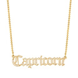 cubic zirconia old english zodiac necklace - capricorn