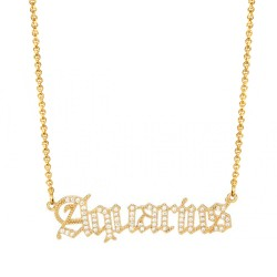 cubic zirconia old english zodiac necklace - aquarius