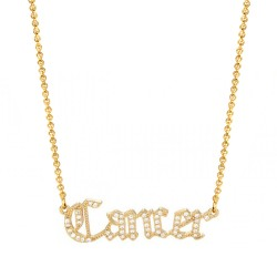 cubic zirconia old english zodiac necklace - cancer