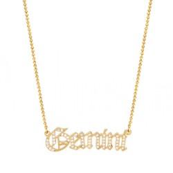cubic zirconia old english zodiac necklace - gemini