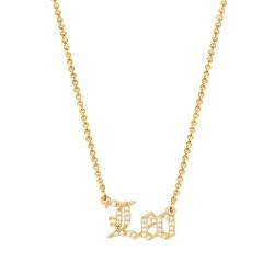 cubic zirconia old english zodiac necklace - leo